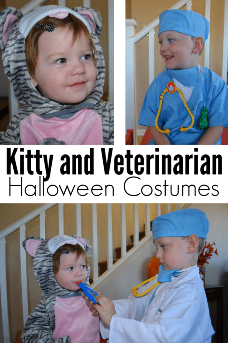These adorable kitty and veterinarian costumes are perfect for siblings! #halloween #costumes