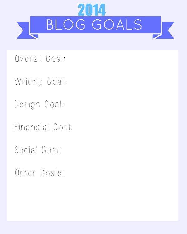 blog goals worksheet