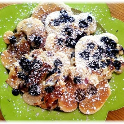 Toasted Banana and Blueberry Pancakes