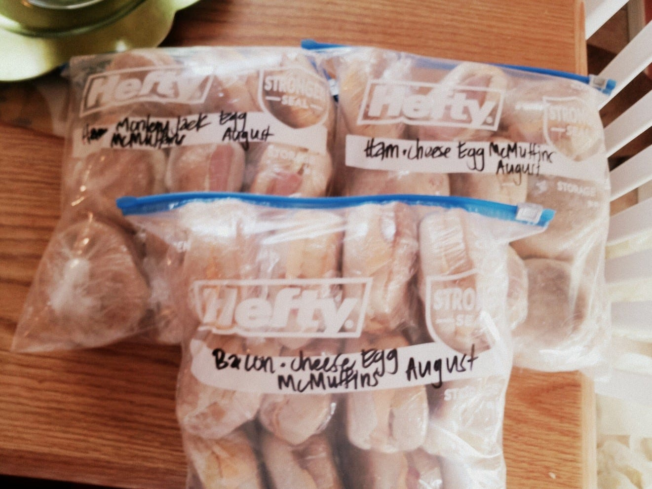 Put your Make Ahead McMuffins in freezer bags, and don't forget to label!