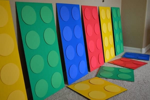 Cardboard Lego Bricks Party Decorations