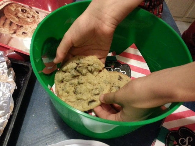 putting the cookies in a pretty basket