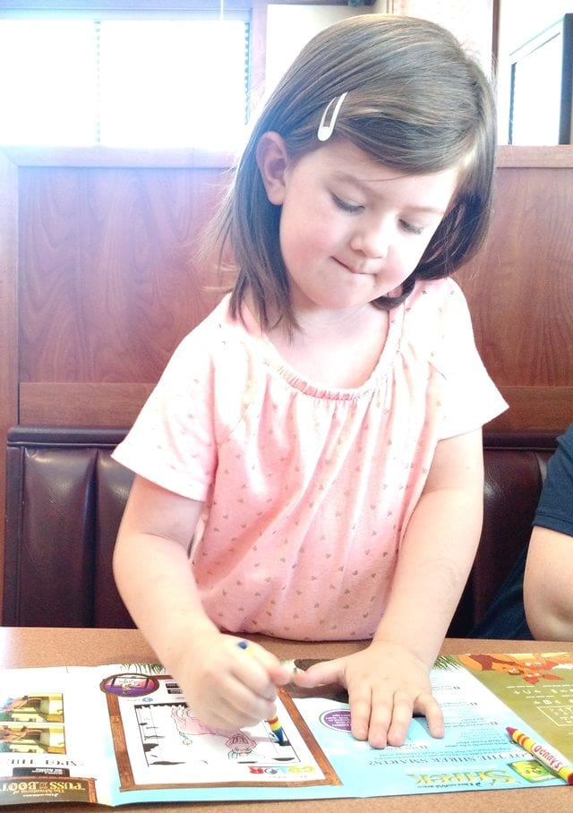 Vanessa coloring Denny's Kids Menu