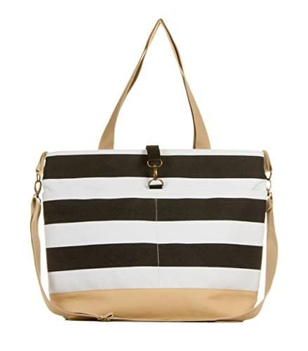 Black and White Stripe Diaper Tote Bag By White Elm - The Classic