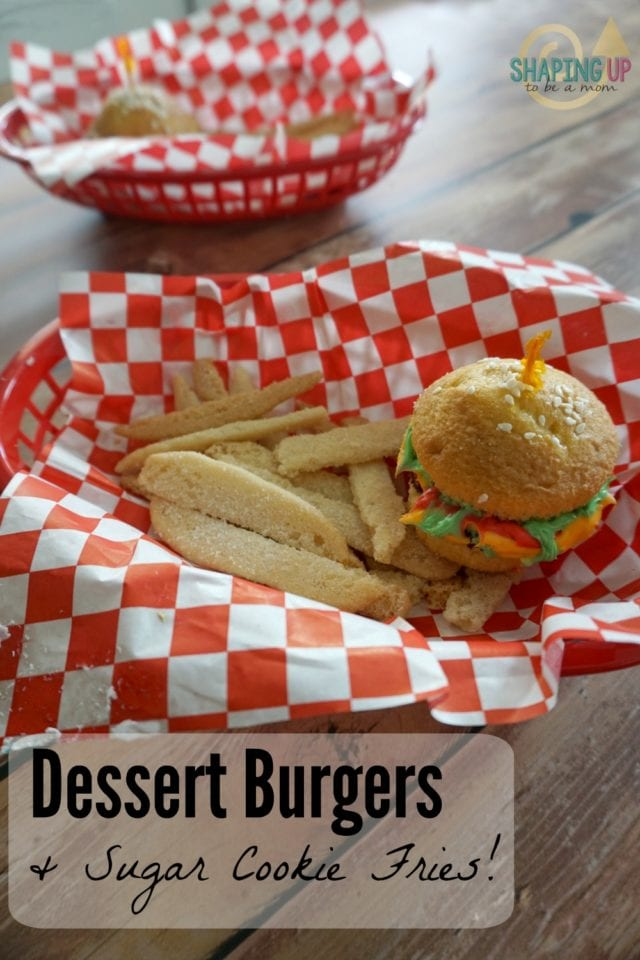 These adorable (and tasty) dessert burgers and fries are perfect for a summer cookout! The burgers are made from cupcakes and the fries from sugar cookies- click for all the instructions!