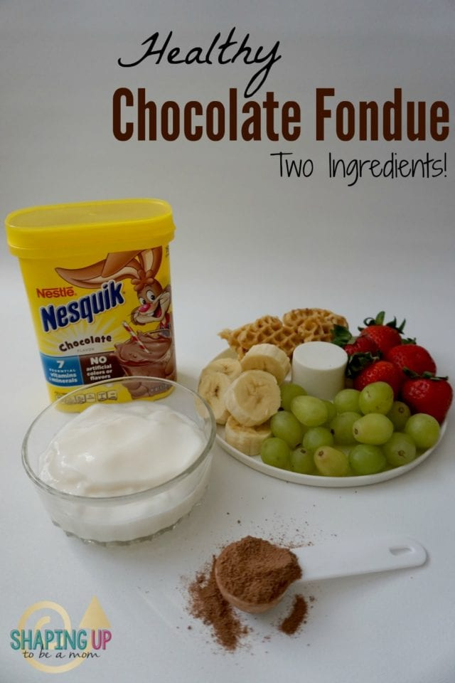 Surprise the kids after school with this healthy and quick Chocolate Fondue! Only two ingredients, plus your choice of dippers! Loved being invited to use the Nesquik Kitchen at the Mom 2.0 Summit to film this super simple snack idea! Your kids can even make it themselves!