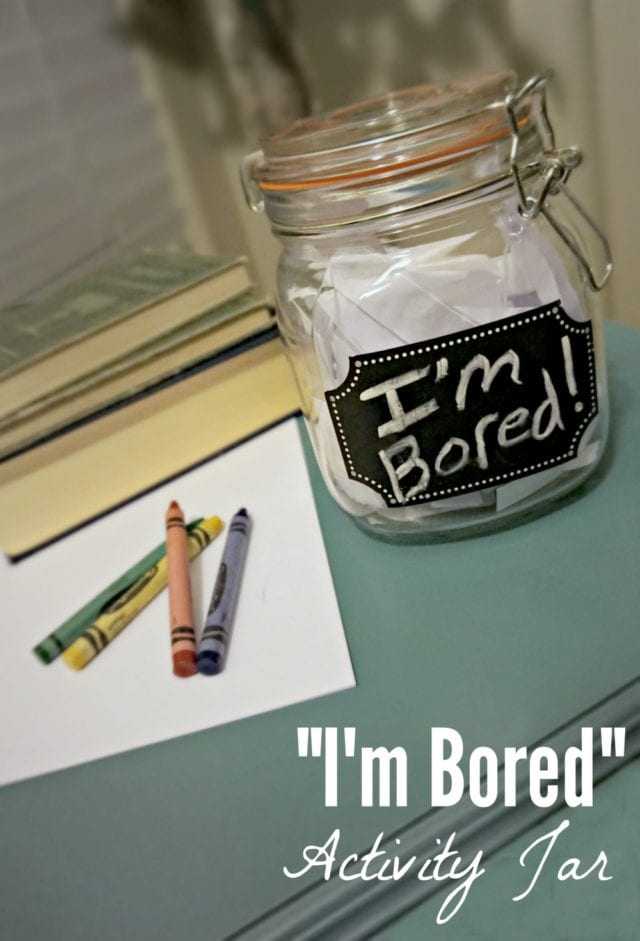 "Do you hear the cry ""I'm bored"" on a regular basis? Sometimes the kids need help coming up with creative ideas, so we made an ""I'm Bored"" jar to help them when they're stuck! Come grab the whole list of ideas for your own jar!"