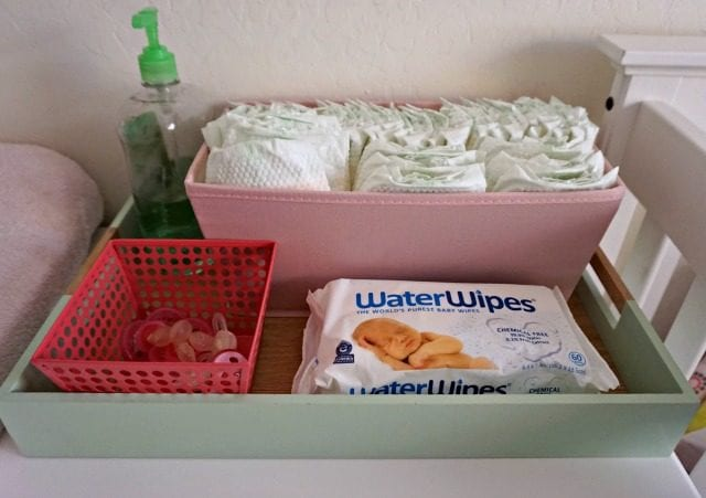 WaterWipes on changing table