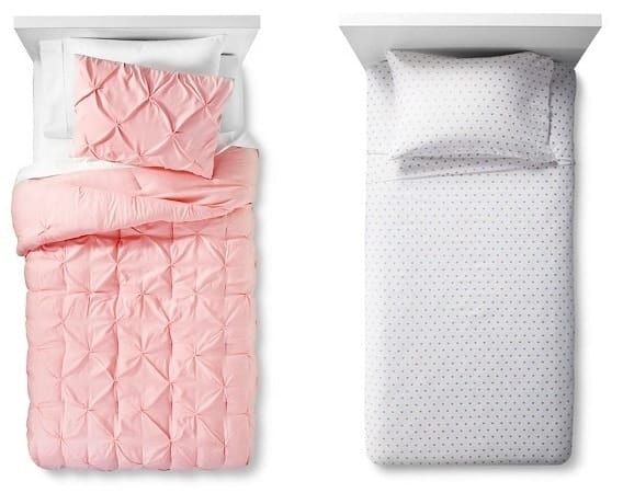 pillowfort pink bedding metallic hearts sheets