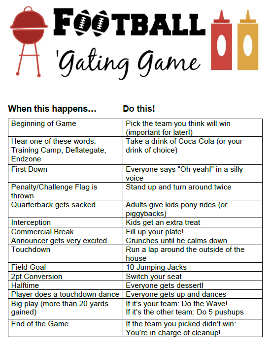 Having a family football watching party? Try our super fun Football 'Gating Game (think family-friendly drinking game), with lots of fun activities! #HostUltimateTailgate [ad]
