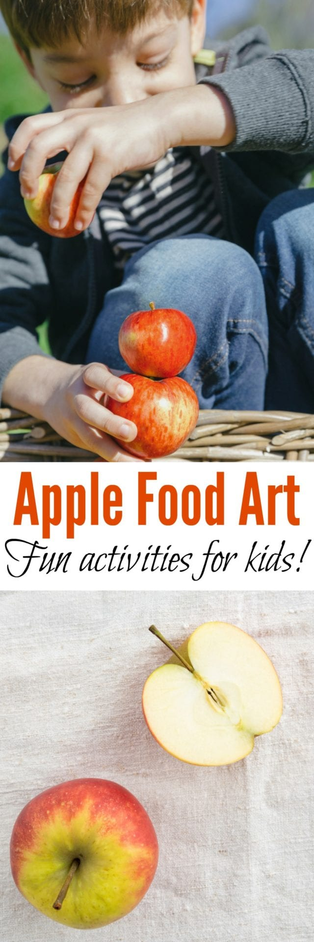 Apple Food Art For Kids- Four fun and different apple-themed activities, perfect for preschool, homeschool, or after-school! Fun for all ages- even the adults. You haven't lived until you've made an apple volcano! #kidsactivities #apples #fall #science #experiments #STEM