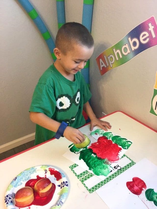 Apple Painting with Apple Stamps