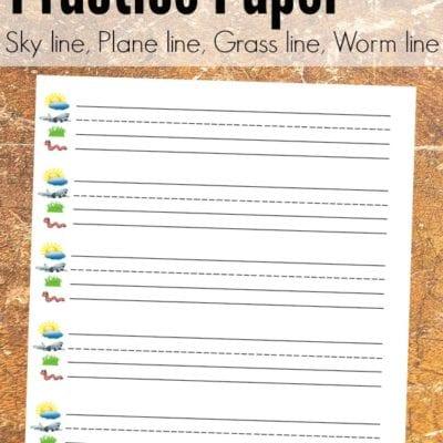 Kindergarten Lined Paper Free Printable {Sky Line, Plane Line, Grass Line, Worm Line}