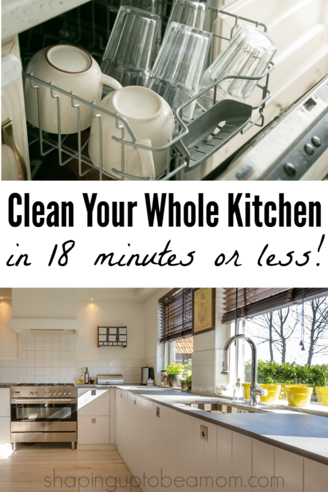 It only takes about 18 minutes a day for an always clean, sparkling kitchen! I'm going to give you the breakdown, minute-by-minute, of how to get this done, and I'm also going to share my secret cleaning weapon- one product that gets a LOT done quickly!