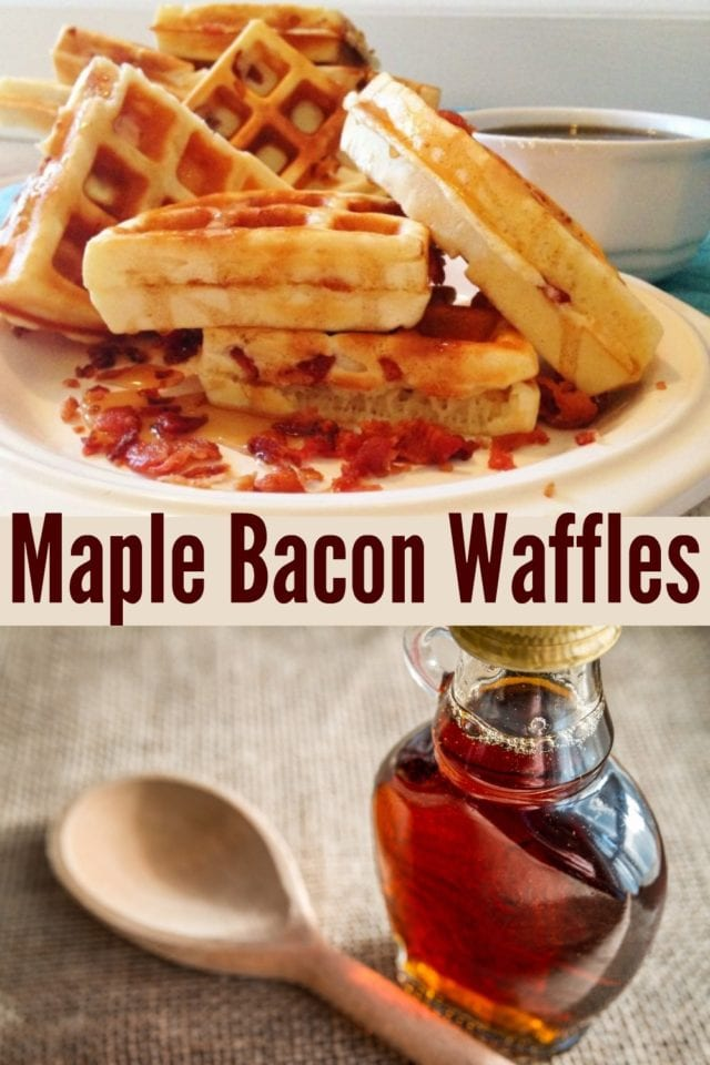 Mmm, what's better than a warm, fluffy waffle drizzled with maple syrup? One with crunchy bacon pieces! #breakfast #waffles