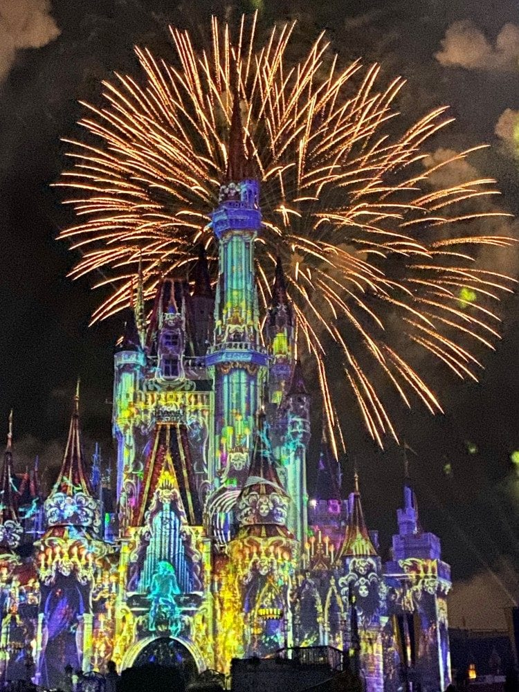 Halloween fireworks over Cinderellas castle