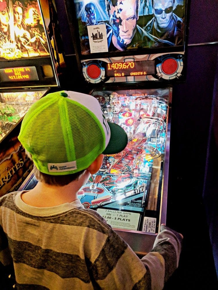 Harry playing pinball