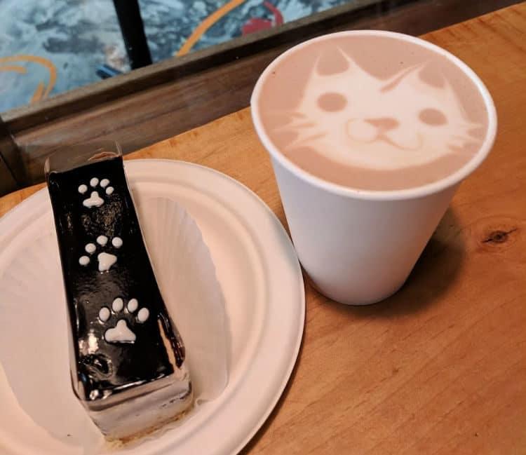 cat hot chocolate at cat cafe