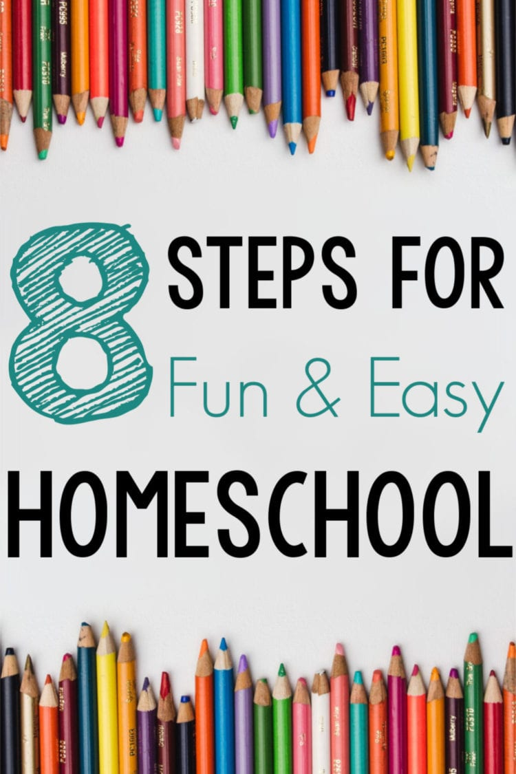 Fun & Easy Homeschool graphic with colored pencils