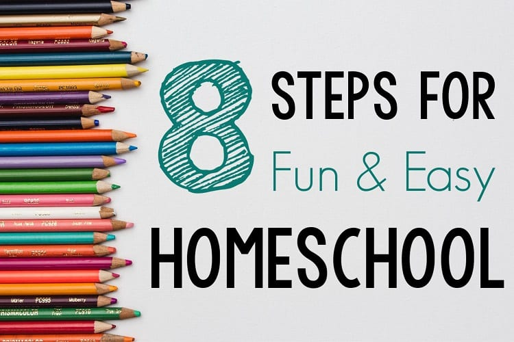 Easy Homeschool graphic with colored pencils