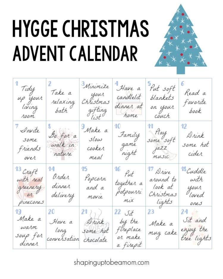 Hygge Christmas Advent Calendar Free Printable