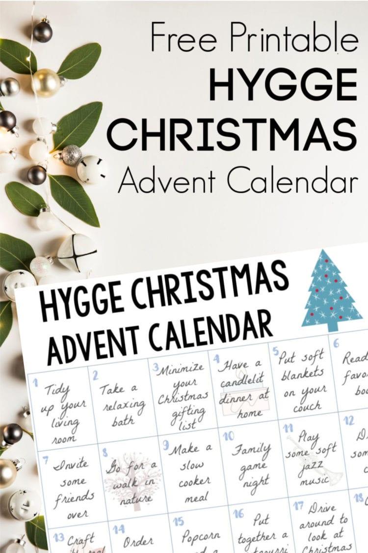 Free Printable Hygge Christmas Advent Calendar