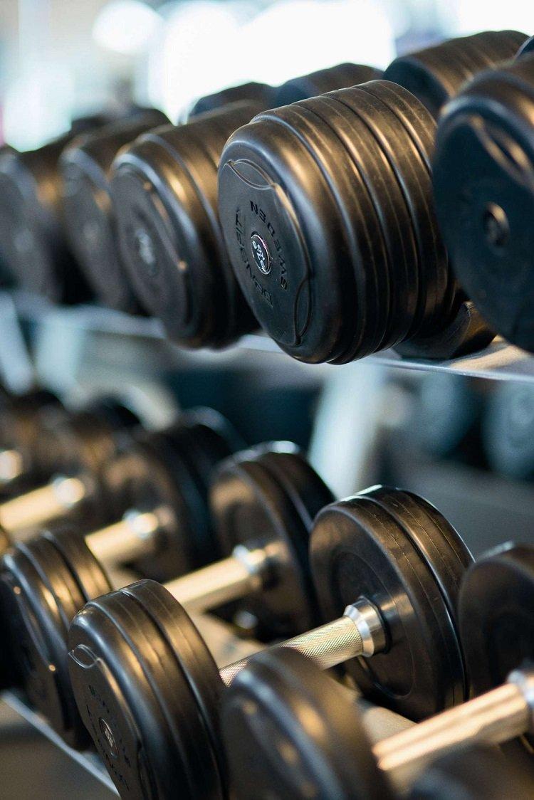 dumbbell rack at gym