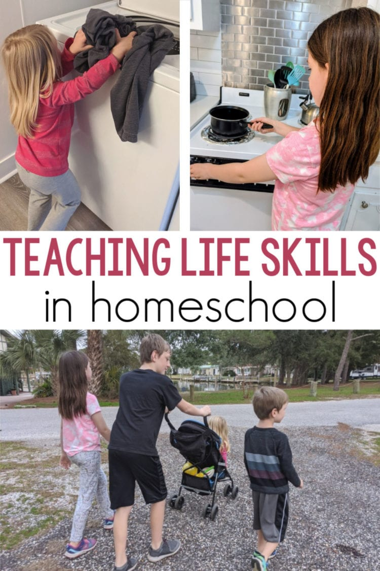 teaching life skills in homeschool pin image