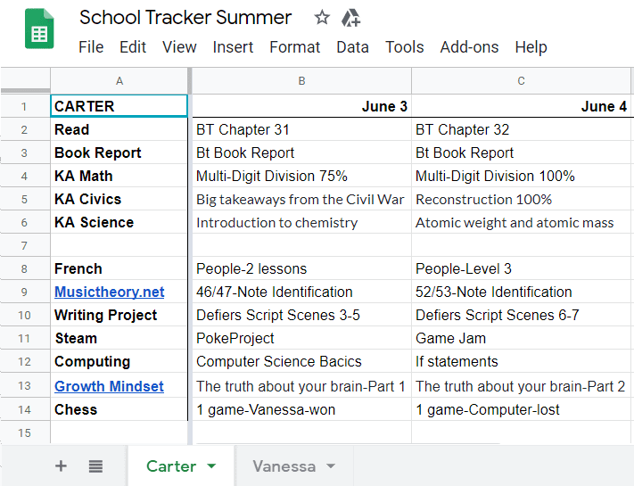 summer school tracker