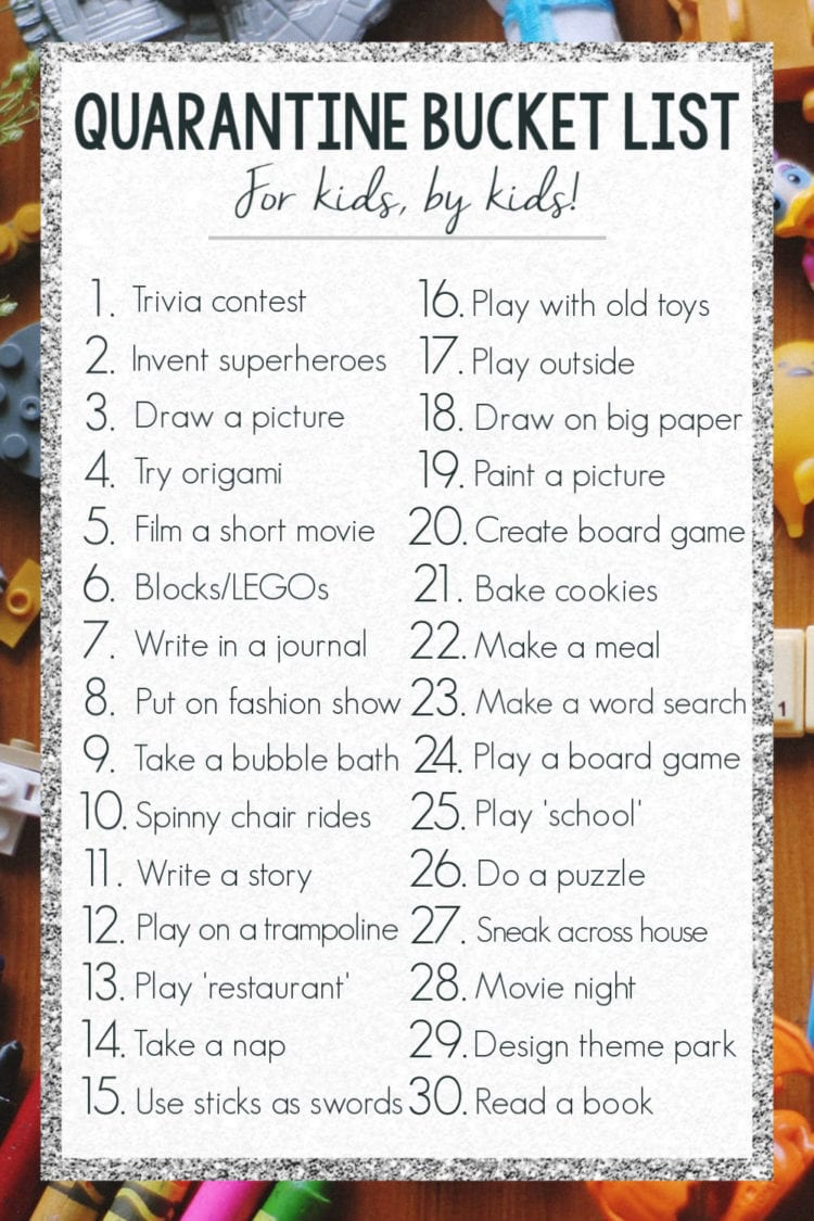 kids quarantine bucket list