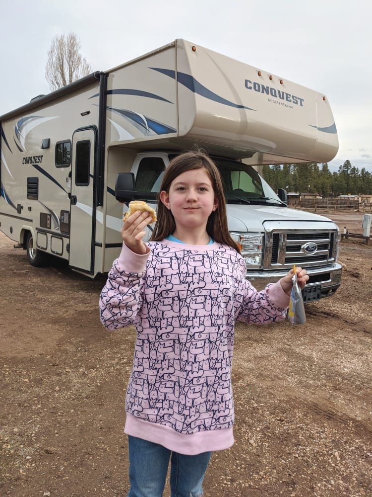 Vanessa eating by RV