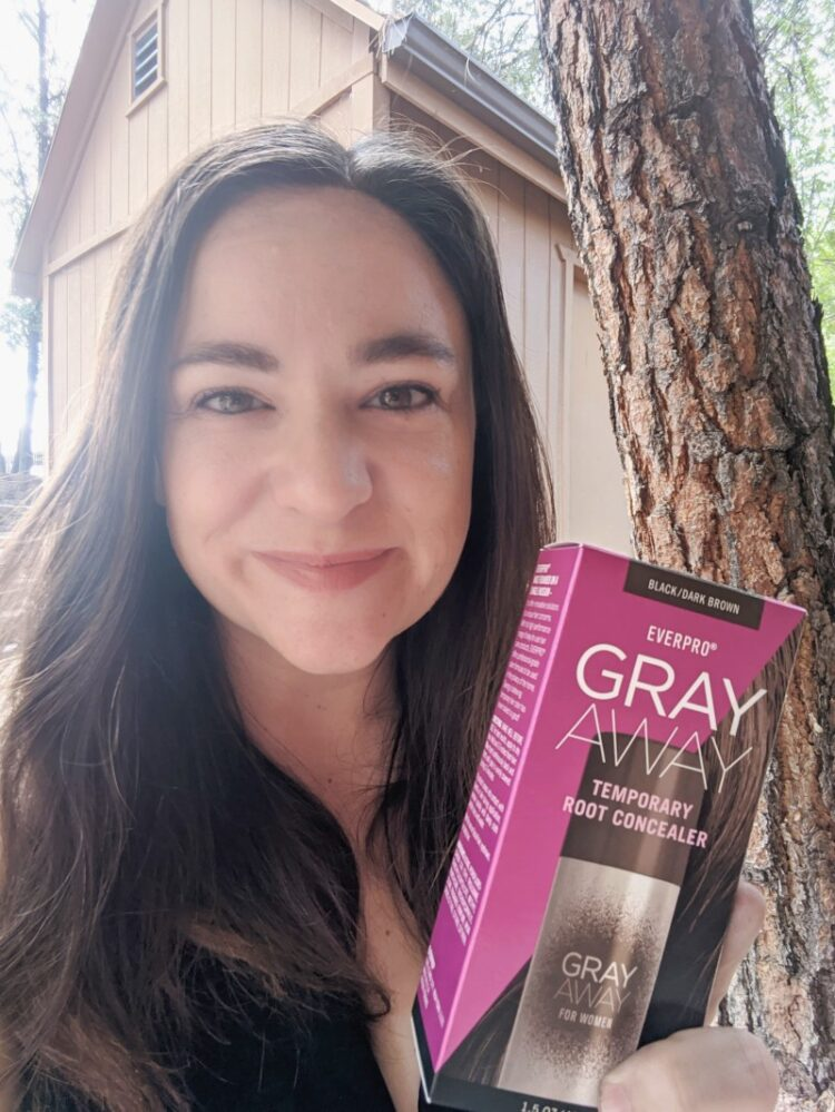 Megan with Gray Away Temporary Root Concealer Spray