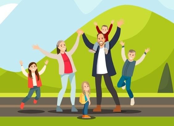 Family travels cartoon