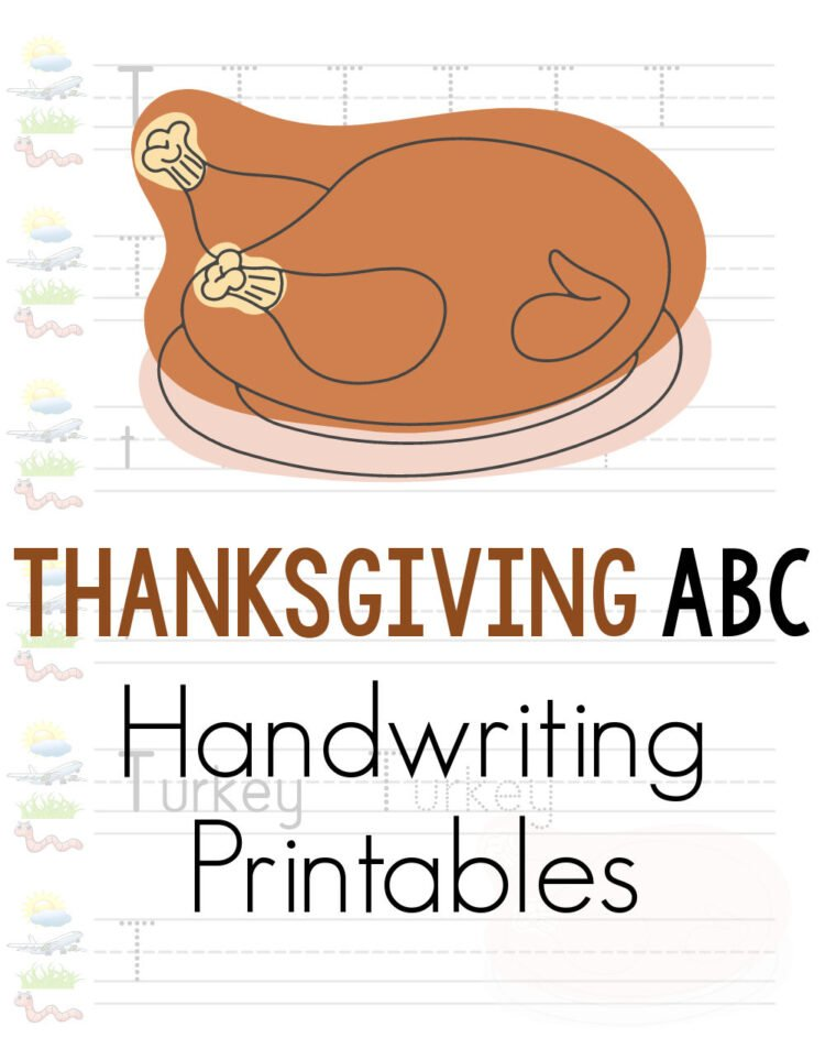 Thanksgiving handwriting practice worksheets